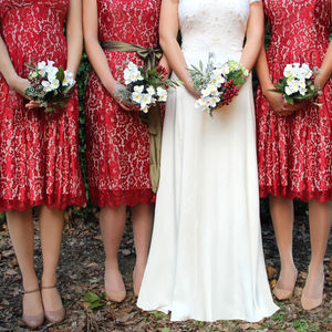 Bespoke Bridesmaid Dresses In Ruby Lace - wedding fashion