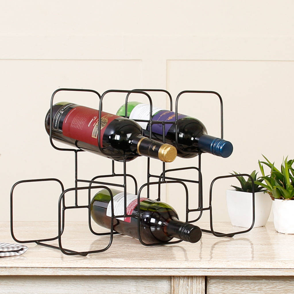 wire wine rack. Five Square Geometric Abstract Black Wire Wine Rack R