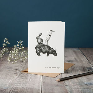 H Is For Hare Card - blank cards