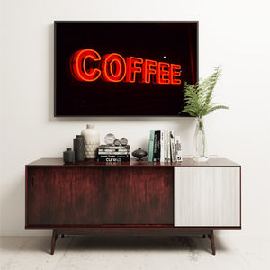 'Coffee' Neon Sign Kitchen Decor Abstract Print