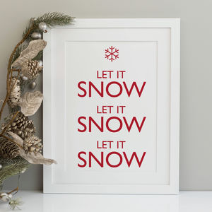 Let It Snow Christmas Print - christmas decorations