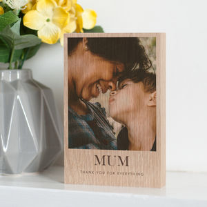 Personalised Solid Oak Or Pine Wooden Photo Block - gifts for grandmothers