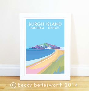 Burgh Island Vintage Style Seaside Poster - posters & prints
