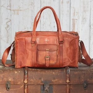 Personalised Large Brown Leather Holdall - bags