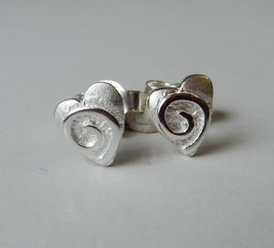 Silver Swirly Heart Studs - earrings