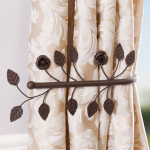 Set Of Two Antique Brown Leaf Curtain Hold Backs - home accessories