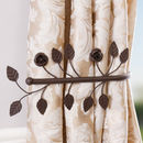 Set Of Two Antique Brown Leaf Curtain Hold Backs