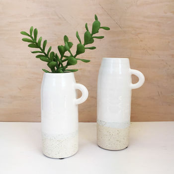 Shiny White Ceramic Jug Vase