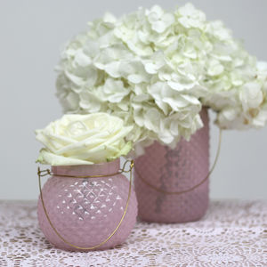 Quilted Pale Pink And Gold Candle Holder / Vase - table decoration