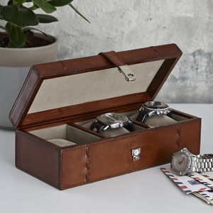Personalised Leather Watch Box For Three, Five Or One - watch storage