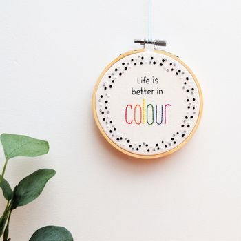 Hand Embroidery Monochrome Hoop Art