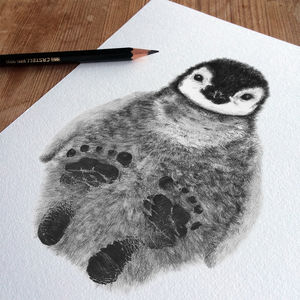 Bespoke Personalised New Baby Footprint Penguin - children's room