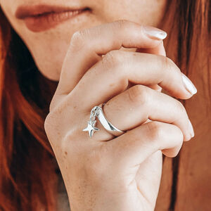 Star Charm Ring Solid Sterling Silver