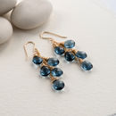 Navy Quartz Waterfall Earrings