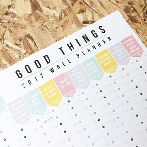2017 Good Things Wall Planner - diaries, stationery & books