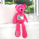 Pink Jersey Bear With Personalised Initial On Paw
