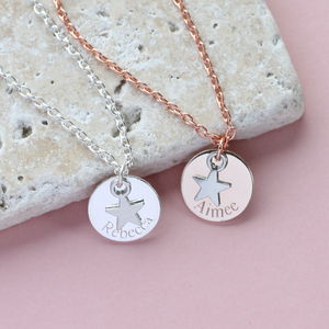 Personalised Name Disc Star Necklace - new in jewellery