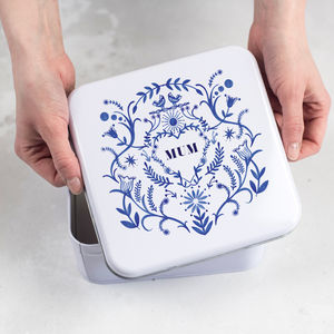 Personalised Blue And White Tin