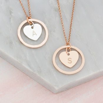 Personalised Hand Stamped Halo And Heart Necklace