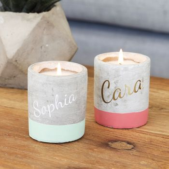 Personalised Set Of Two Scented Candles With Name