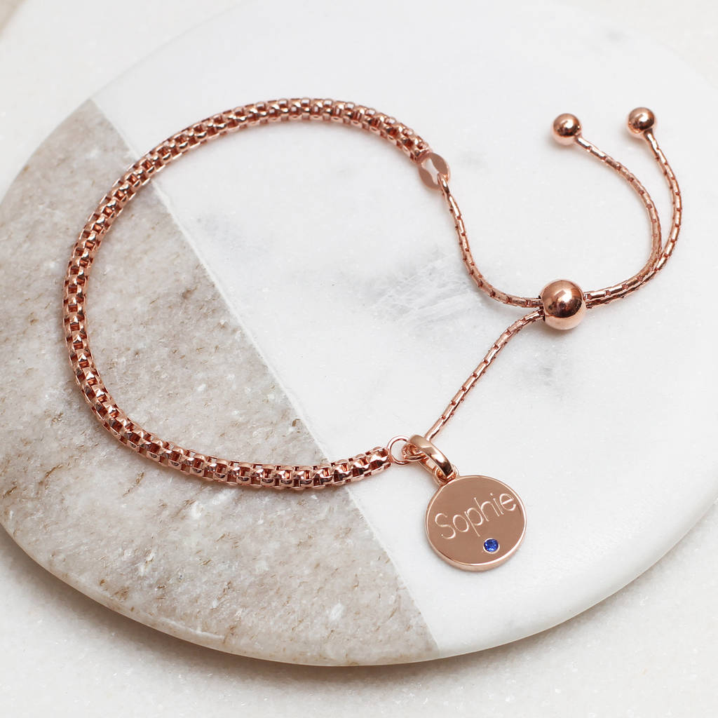 Personalised 18ct Rose Gold Birthstone Charm Bracelet