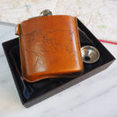 World map leather hip flask and gift case