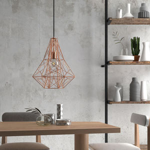 Copper Birdsnest Cage Pendant Light - dining room