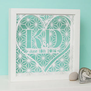 Framed Personalised Wedding Geometric Lace Papercut Art - shop by subject
