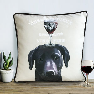 Black Labrador Cushion, Dog Au Vin Wine Gift