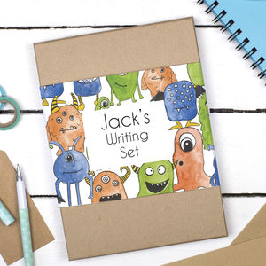 Personalised Monsters Children's Writing Set - letter writing accessories