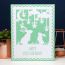 Printed Bunny First Birthday Card