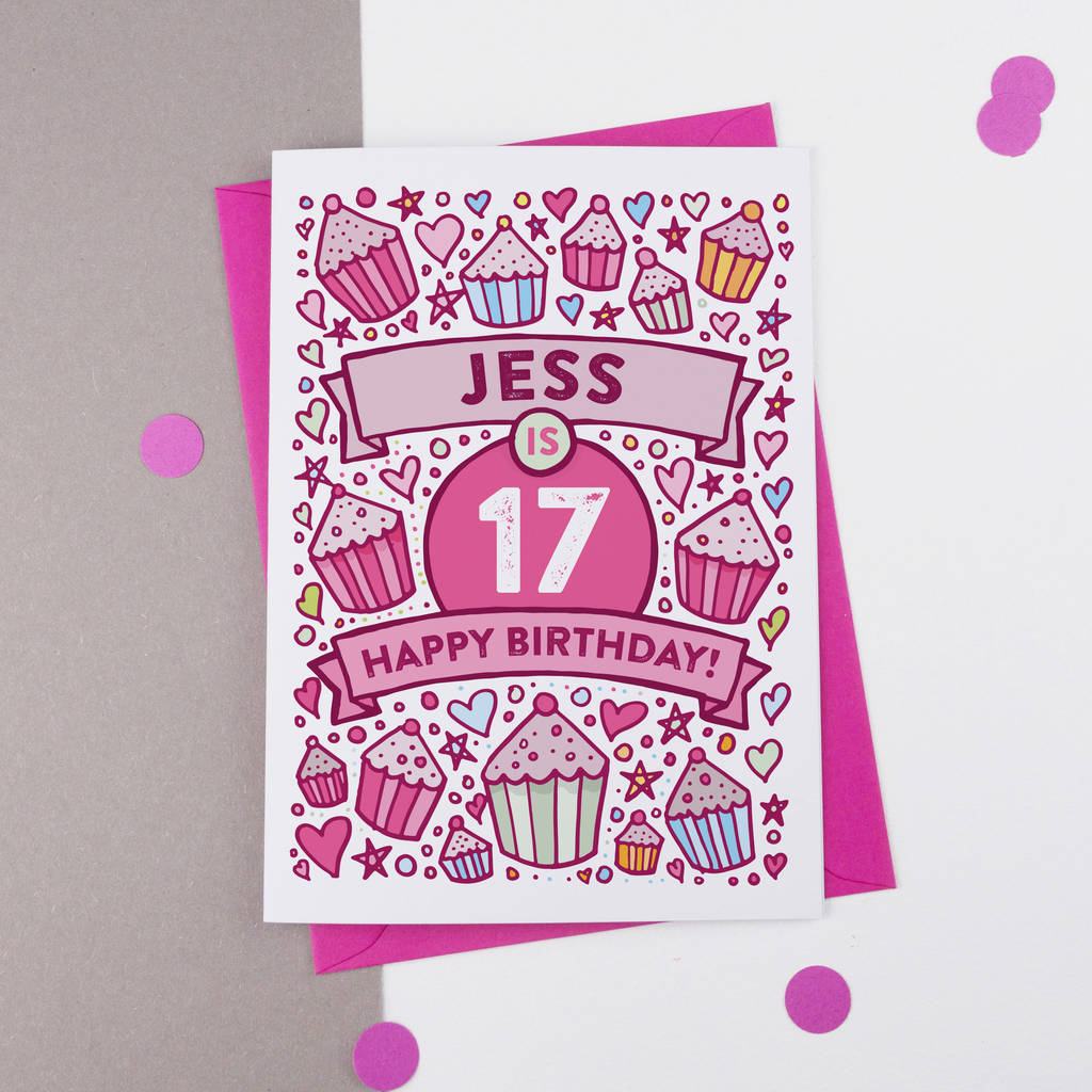 17th Birthday Card Cupcake Personalised
