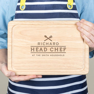 Personalised Family Chef Chopping Board For Him - gifts for him sale