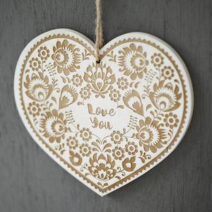 Folk Art Style Engraved Wooden Card