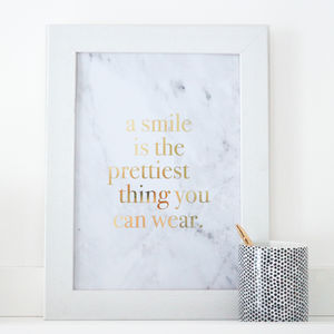 Gold Foil Marble 'A Smile Is' Print - winter sale