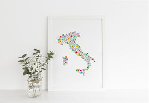 Floral Map Of Italy Print - paintings