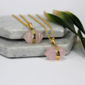Children's Rose Quartz Nugget Stone Necklace - necklaces