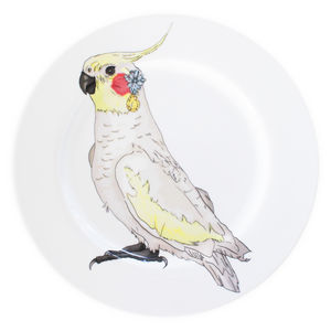 Cockatiel Illustrated Dinner Plate