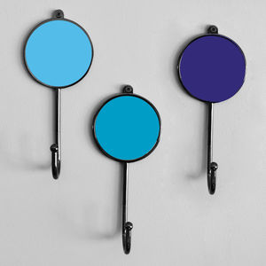 Blue Colourful Robe Hanger Coat Wall Bathroom Hooks