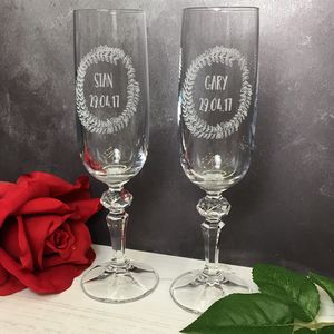 Personalised Floral Wreath Champagne Flutes