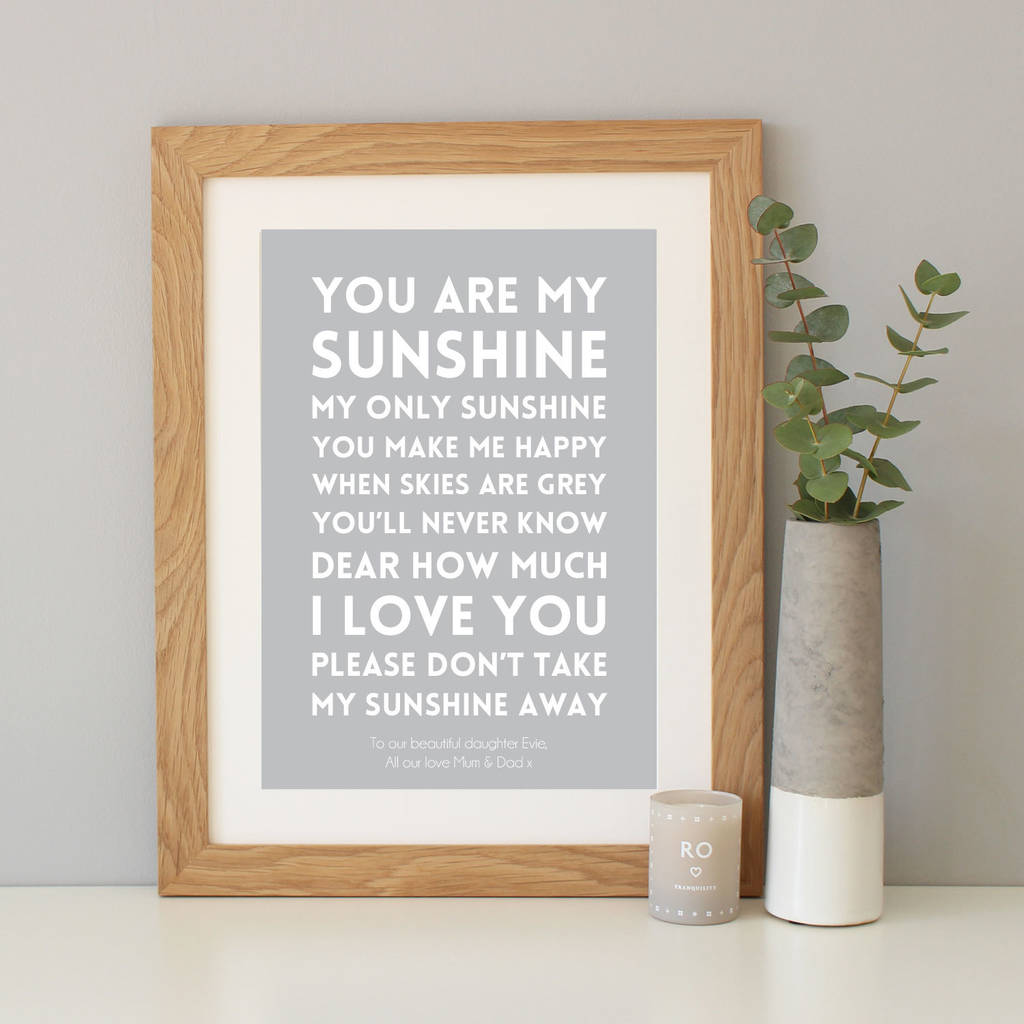 You Are My Sunshine Song Lyrics Print By Hope And Love