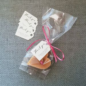 Pack Of 25 Clear Favour Bags, Tags And Ribbon - wedding favours