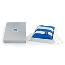 Vertical Cashmere Football Scarf: Blue And White