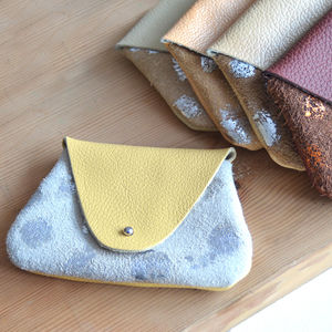Leather Coin Purse With Metallic Specks