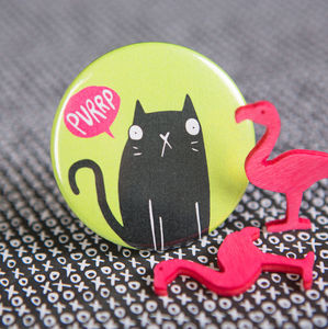 'Purrrp' Cat Badge - children's jewellery