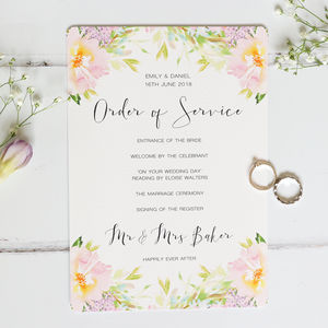Pastel Meadow Wedding Order Of Service
