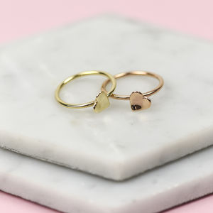 Handmade Solid Gold Interlocking Heart Rings - gold rings