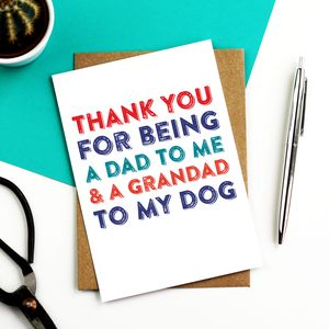Thank You Dad Grandad To The Dog Card - winter sale
