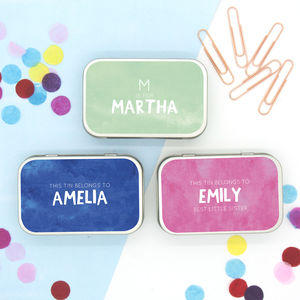 Personalised Pastel Colours Messages Keepsake Tin - decoration