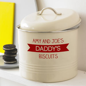 Personalised Banner Biscuit Barrel - tins